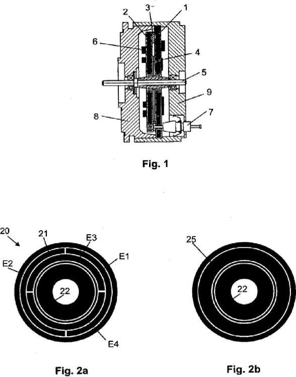 Sensor de ángulo de rotación capacitivo.