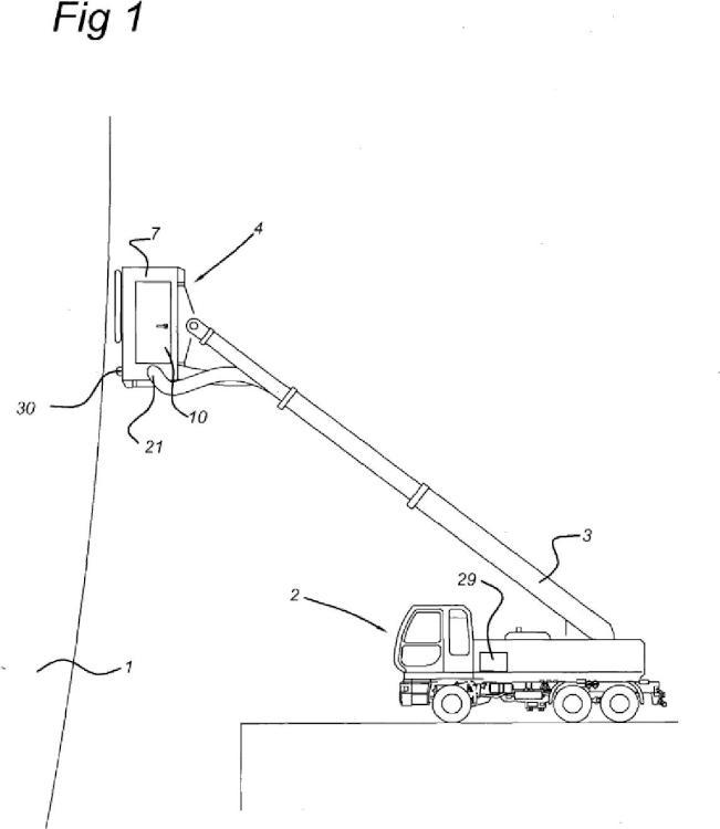 Cabina de pulverización móvil para revestimiento de superficies grandes, como buques.