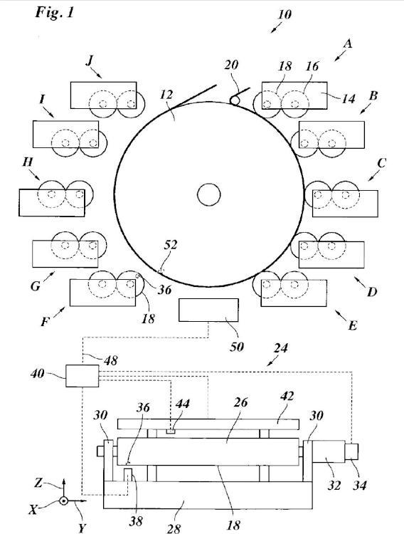 Prensa rotativa provista de cilindro de impresión central.