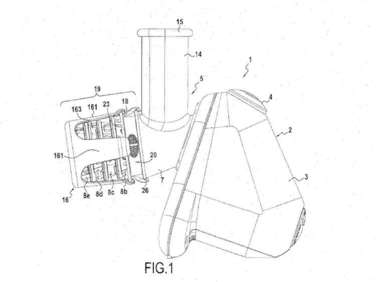 Dispositivo de ordenación para útiles de corte encajables y aparato electrodoméstico que incluye tal dispositivo.