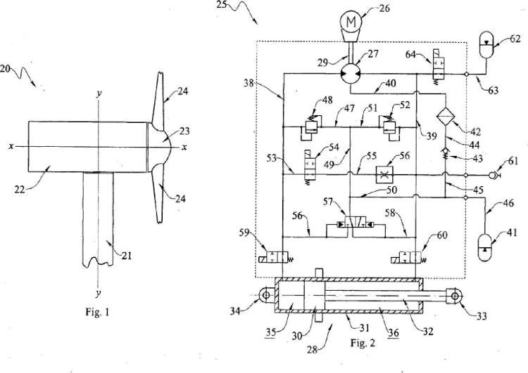 Accionador electrohidráulico para controlar el paso de una pala de turbina eólica.