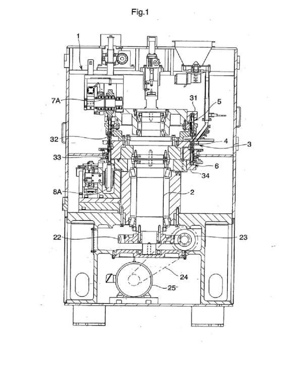 Máquina de conformado de compresión rotatoria que utiliza un punzón.