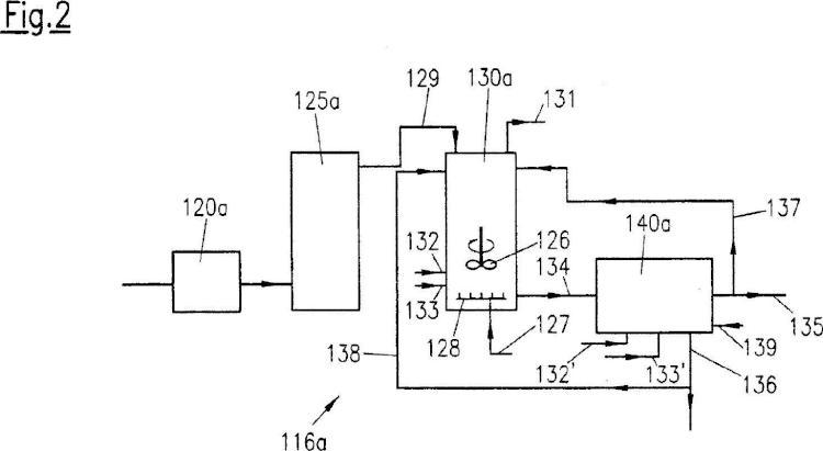 Instalación y procedimiento para el tratamiento de agua de proceso con separación por separado de gases y sólido.