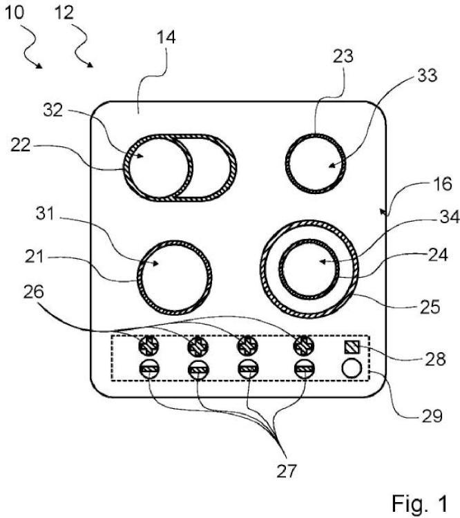 Dispositivo de placa de campo de cocción.