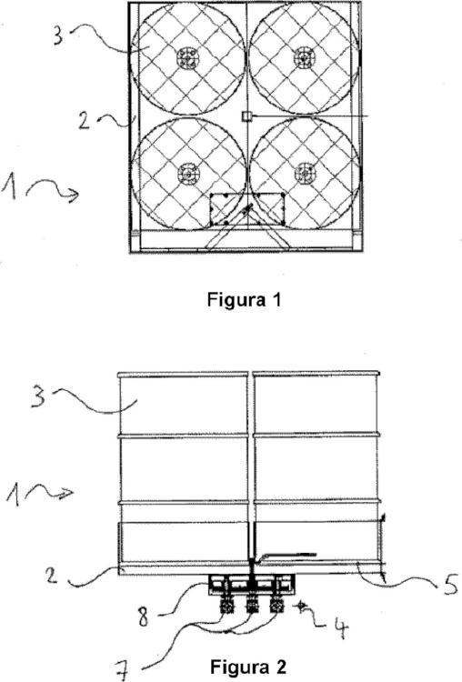 Dispositivo compuesto por recipientes fijados en un palé diseñado para el transporte de materiales peligrosos.