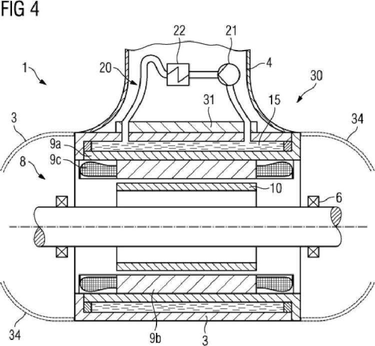 Accionamiento de góndola eléctrico para un dispositivo flotante con refrigeración interna del estator.