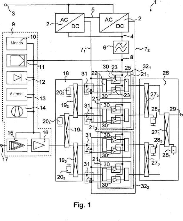 Disposición de circuito para la alimentación de corriente redundante de un amplificador de potencia.