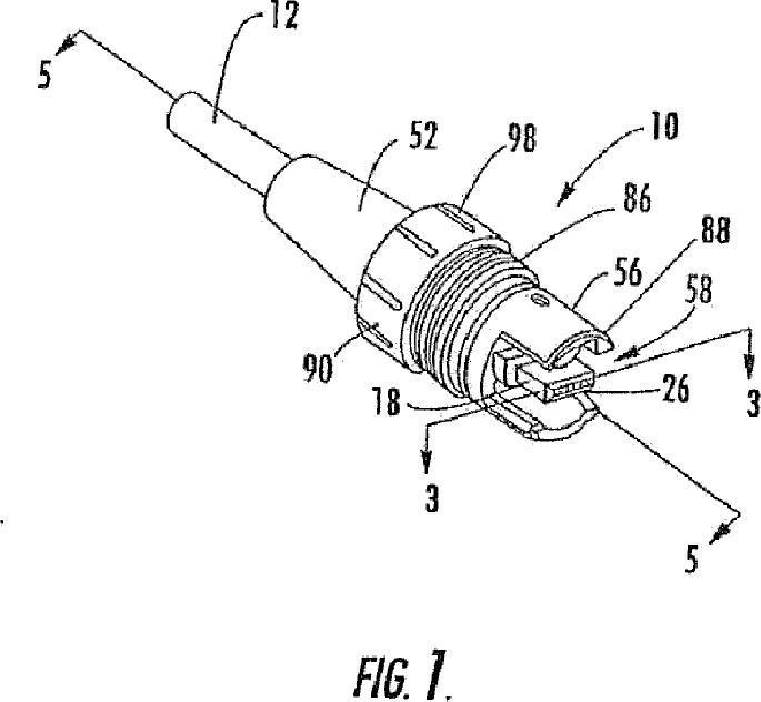 Enchufe y casquillo de fibra óptica.
