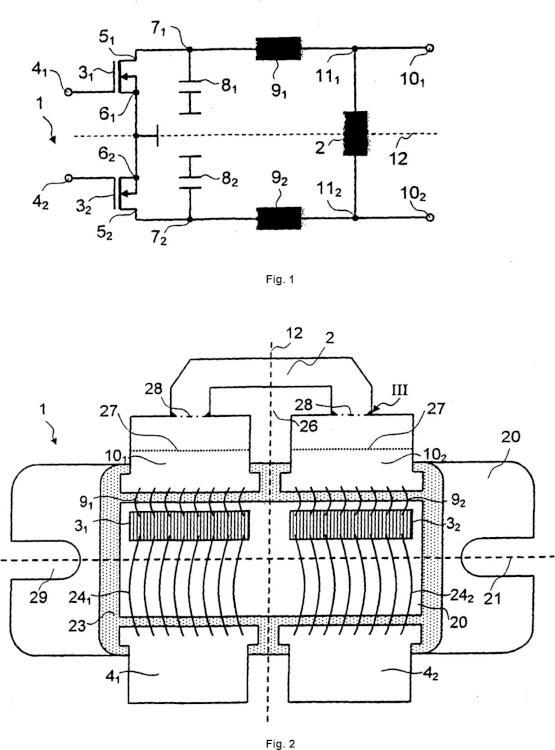 Componente amplificador con un elemento de compensación.