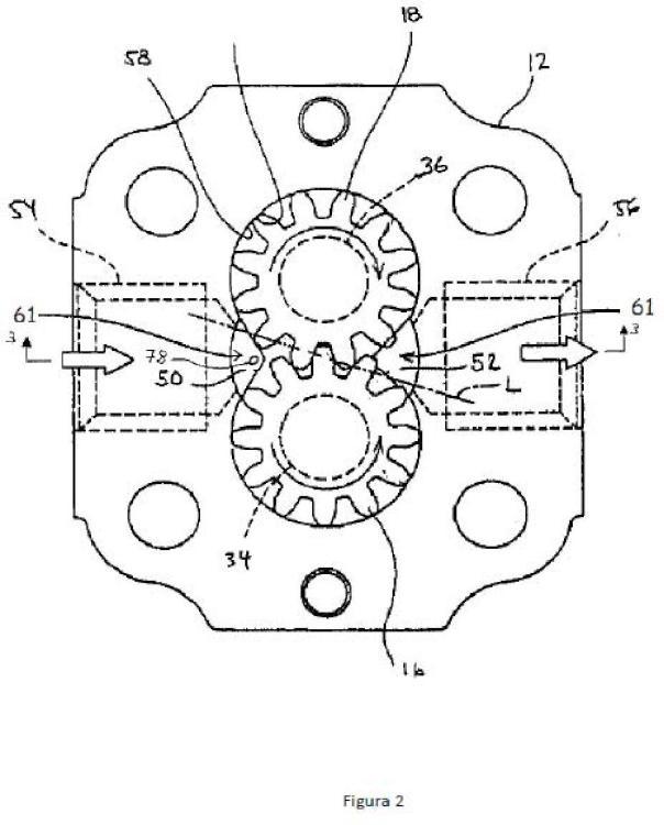 Bomba de engranajes con cámara de amortiguación de pulsaciones de presión en la cámara de aspiración para reducción de ruido y vibraciones.