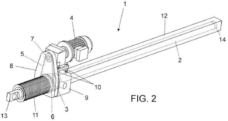 Actuador lineal con transmisión por cadena.