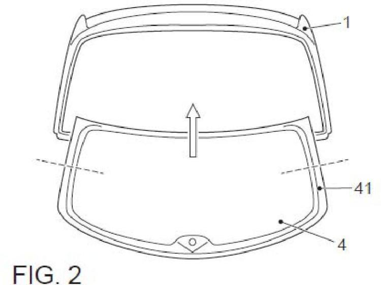 Conjunto marco para luneta de vehículo.