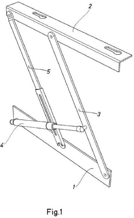 Articulación para apertura de la tapa de un canapé abatible.
