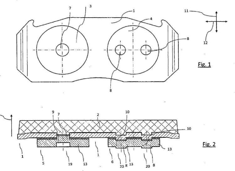 Forro de freno con adaptador para frenos de disco.