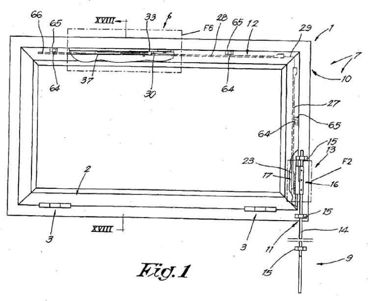 Mecanismo tipo tijera para una ventana basculante.