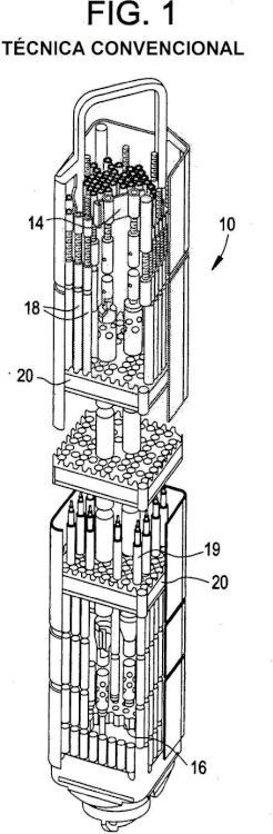 Componente separable de conjunto combustible de reactor nuclear.