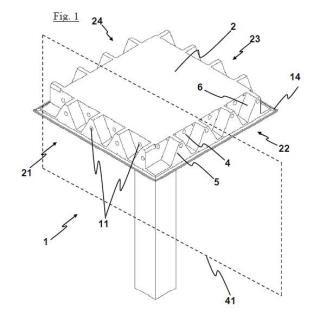 Pilar de apoyo para estructura modular, viga destinada a apoyarse en pilares de este tipo y estructura que comprende a dichos pilares y vigas.