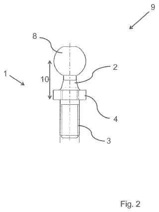 Pivote de articulación con una cabeza de articulación de plástico.