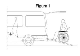 Rampa abatible para vehículos destinados a transporte de personas con movilidad reducida.