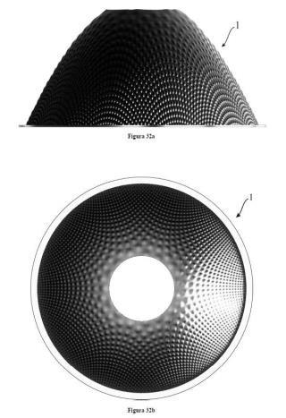 Reflector de revolución con micro-estructuras superficiales complejas.