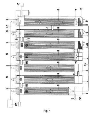 Depuración de aguas residuales completa de flujo vertical.