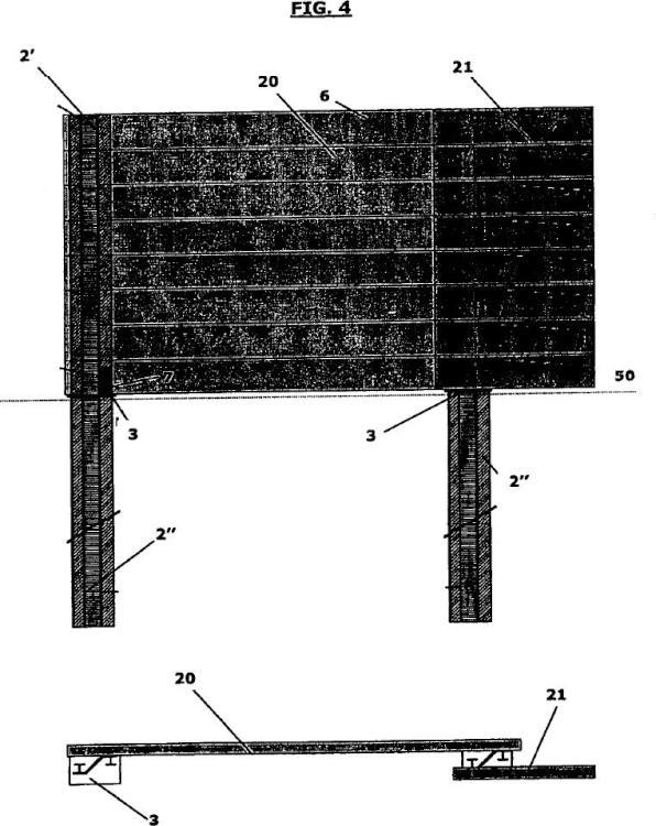 Ilustración 4 de la Galería de ilustraciones de Barrera acústica en la que las partes de cimentación y el poste de elevación están realizados en un único elemento y método de montaje relativo