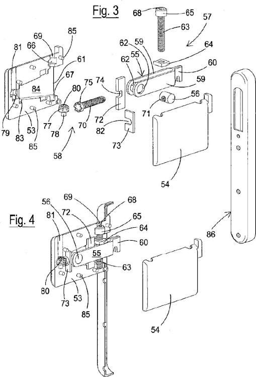 Dispositivo oculto para el montaje en pared de un componente estructural de un mueble, con regulación desde arriba.