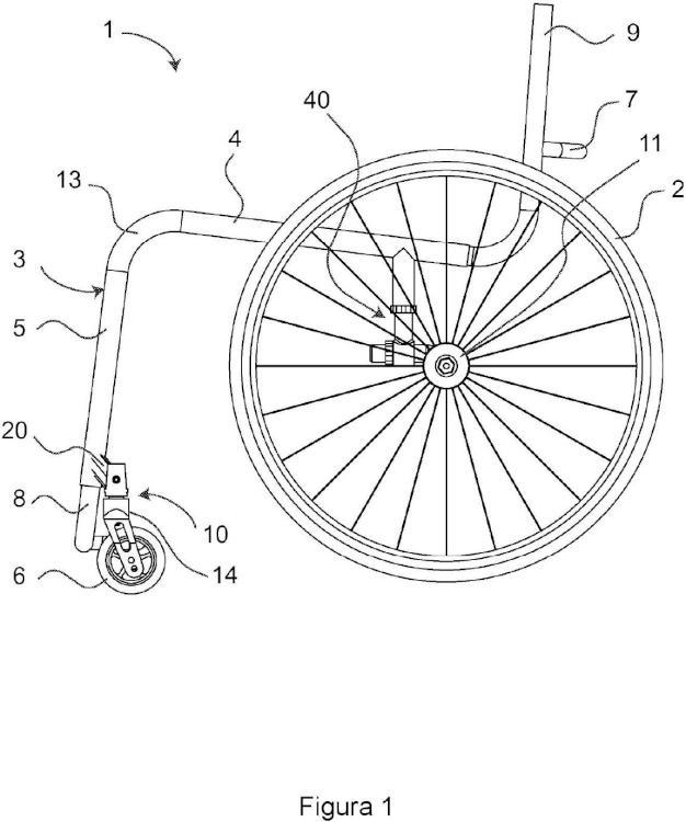 Silla de ruedas con ajuste del eje de giro de ruedecilla pivotante.