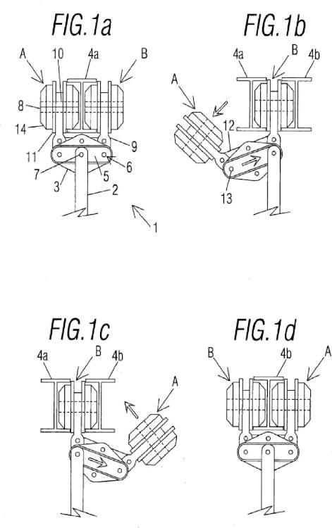 Dispositivo automatizado para el cambio de raíl para railes aéreos soportados en el aire.