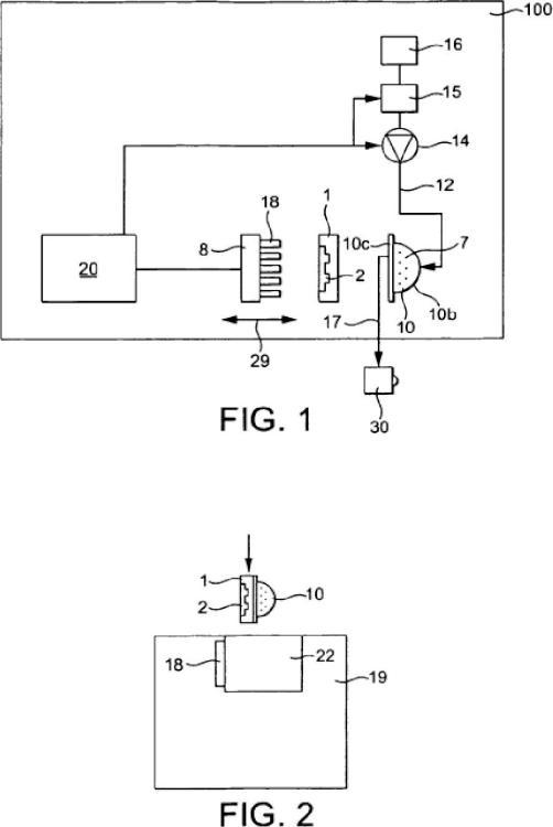 Conector de programación para cápsulas de preparación de bebidas.