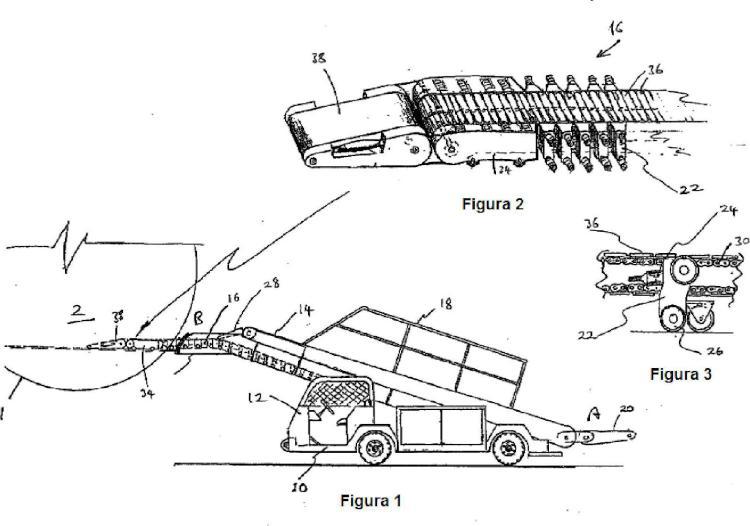 Aparato transportador para la carga y descarga de una aeronave.
