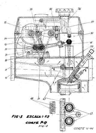 Distribución en los motores de cuatro tiempos por el sistema de levas conjugadas.