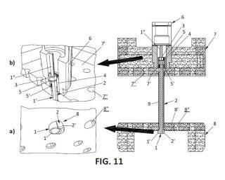 Dispositivo para asegurar la unión entre cabezales en elementos combustibles nucleares.
