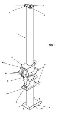 Dispositivo de elevación plegable para ser usado en la construcción de contenedores metálicos de grandes dimensiones, y accesorio removible aplicable al mismo.