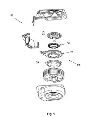 Conjunto de engranaje para una unidad de recogida de ruedas de repuesto, y unidad de recogida de ruedas de repuesto que comprende dicho conjunto de engranaje.
