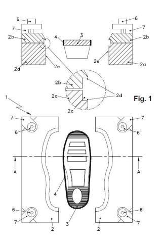 Procedimiento de elaboración de una suela para calzado, dispositivo y producto obtenido.