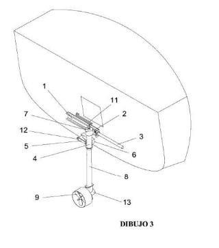 Estructura abatible de soporte, izado y estiba de propulsor fueraborda.