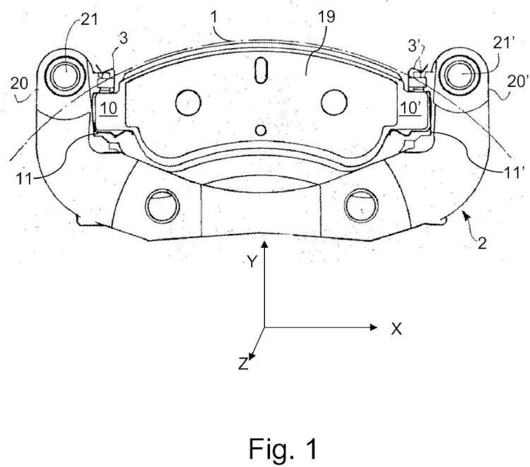 Sistema de montaje de una zapata de freno de disco.