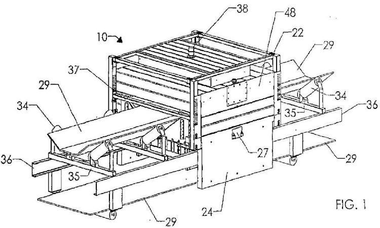 Conjunto de analizador de material a granel que incluye vigas estructurales que contienen material de protección de radiación.