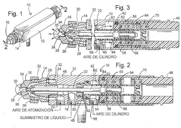Boquilla de pulverización de atomización de aire con válvula de cierre accionada magnéticamente.