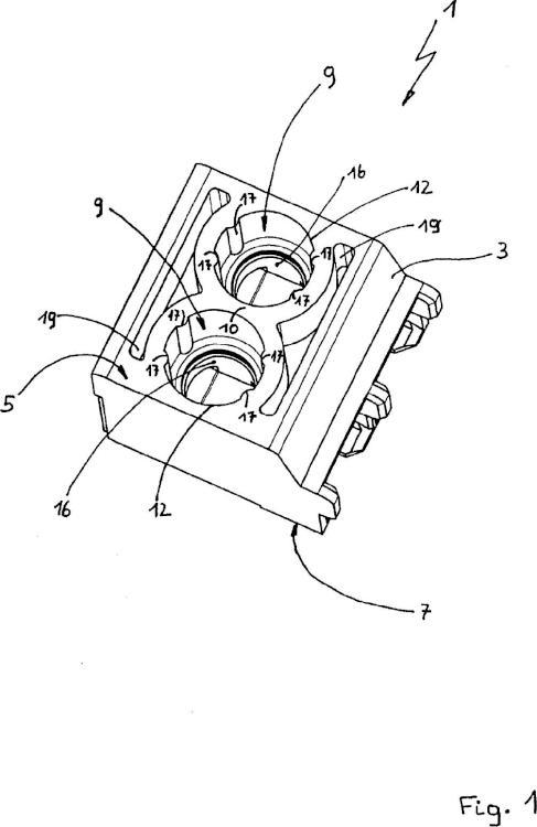 Dispositivo eléctrico con borna atornillada.
