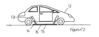 Freno para coches con plancha de caucho y brazos hidráulicos.