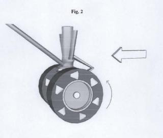 Conjunto aerodinámico acelerador de giro para ruedas de aeronaves.