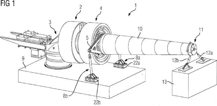 Dispositivo de ensayo para un ensayo en oposición de una turbina.