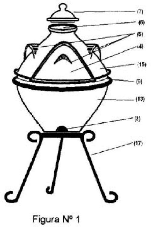 Horno-Barbacoa de barro refractario sin recubrimiento exterior.