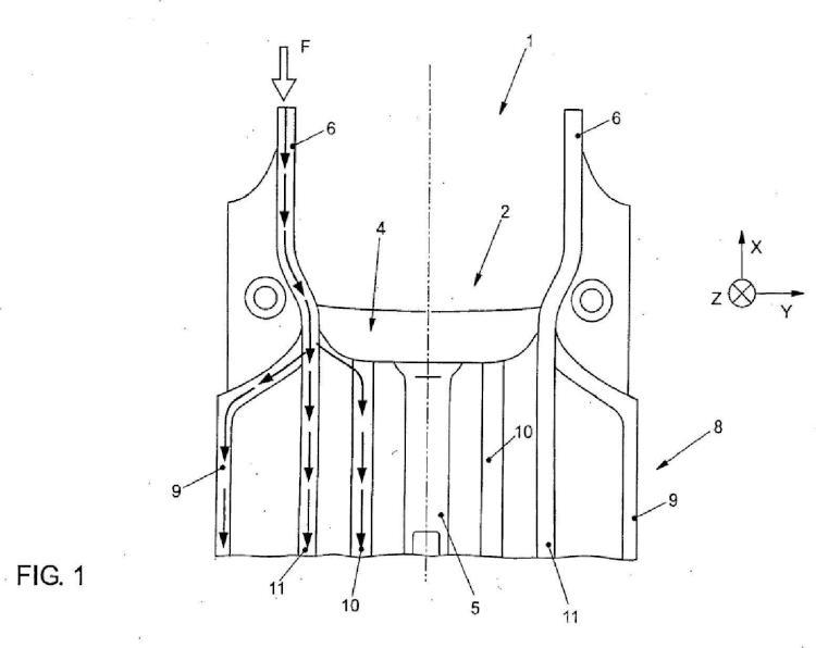 Disposición de travesaño, especialmente disposición de travesaño de suelo y/o de travesaño de espacio para los pies, en una carrocería de vehículo, especialmente en una carrocería de vehículo automóvil.