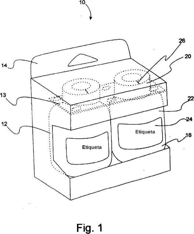 Embalaje múltiple de producto y un sistema para orientar y embalar tales embalajes múltiples.