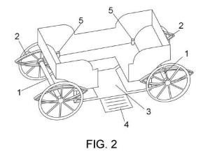 Carruaje de caballos con rampa amovible de acceso.