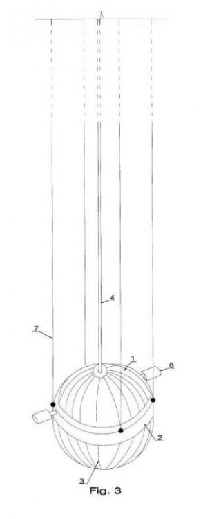 Depósito flexible de aire comprimido submarino de profundidad constante regulada.