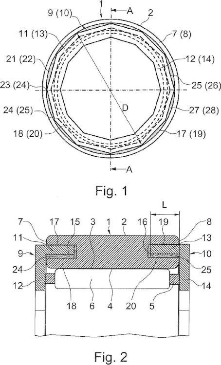 Anillo de cojinete para un rodamiento radial, en particular para un cojinete de rodillos cilíndricos o cojinete de agujas.